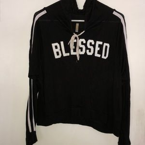 blessed  black and white stripped crop sweatshirt